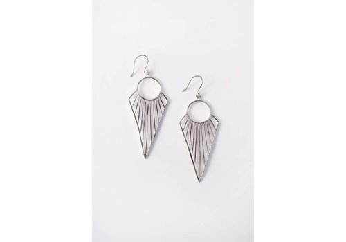 Boho Geometric Arrow Earrings in Silver