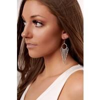 Boho Geometric Arrow Earrings in Silver