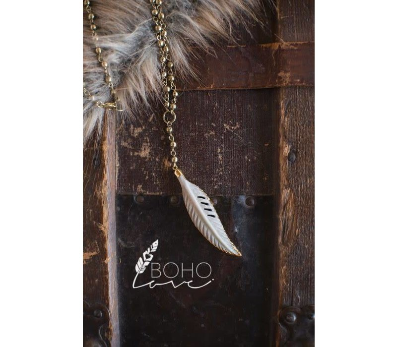 Long Feather Chain Necklace