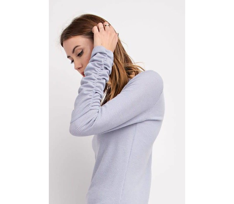 SHOP FAV' - Ruched Sleeve Ribbed Knit Top in 2 NEW Colors
