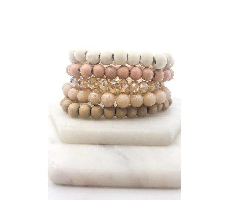 Blush Wood Bead Bracelet Stack