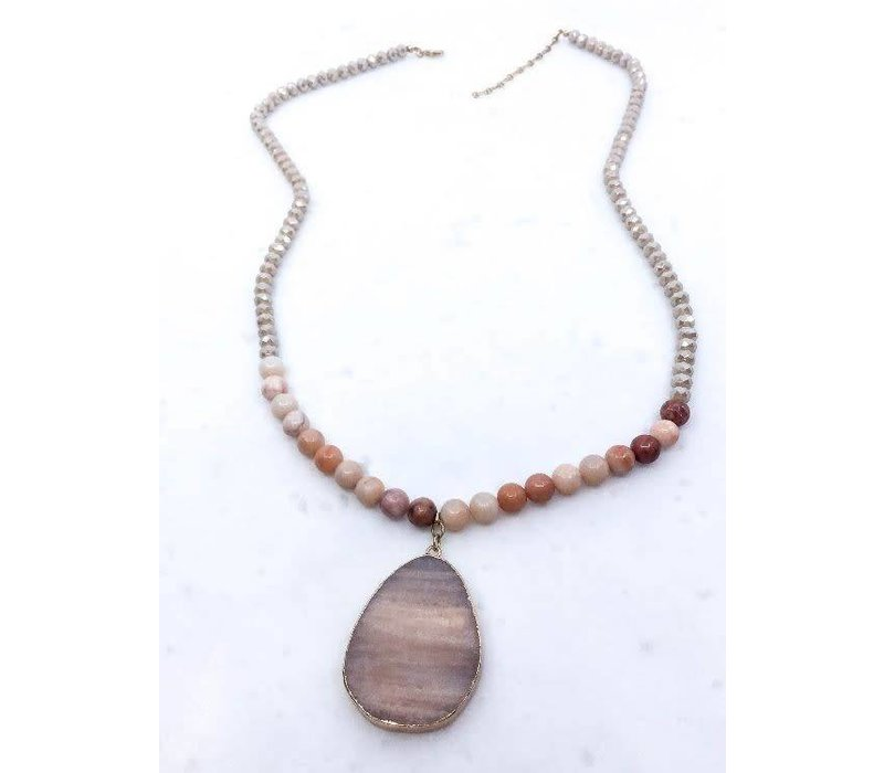 Beaded Natural Stone Necklace- 2 Color Options