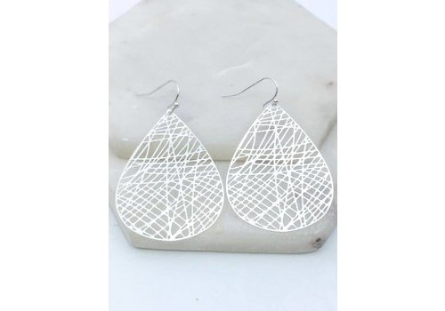 Webbed Wire Hoop Earrings in Silver & Gold