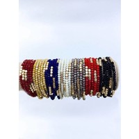 Glass Bead & Bronze Stackable Bracelets