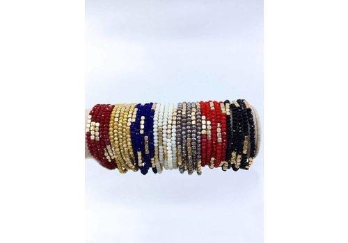 Glass Bead & Bronze Stackable Bracelets