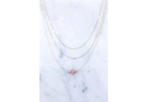 Pink Dainty Semi Precious Stone Necklace