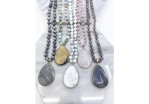 Hand Knotted Natural Stone Pendant Necklaces