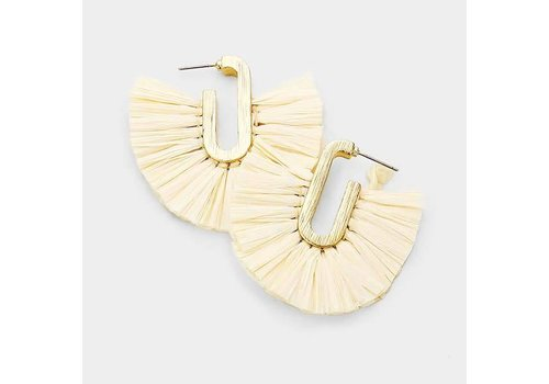 White Raffia Earrings