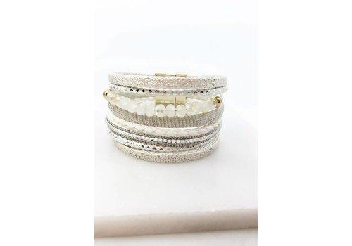 White Leather Beaded Magnetic Bracelet