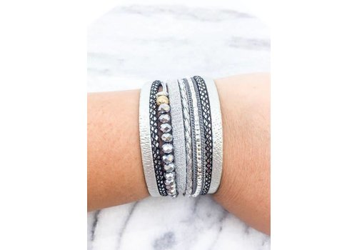 Silver Leather Beaded Magnetic Bracelet
