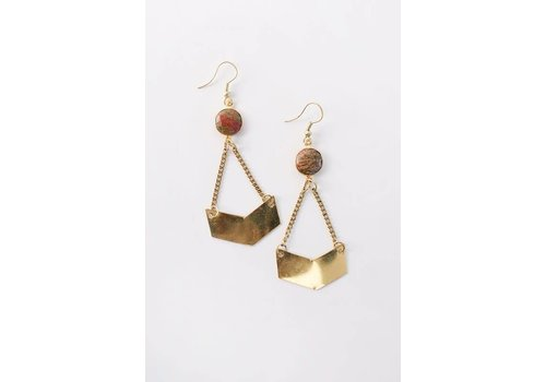 Handcrafted Drop Stone Geo Earrings in Gold