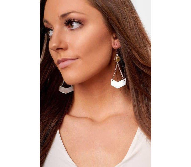 Handcrafted Drop Stone Geo Earrings in Silver