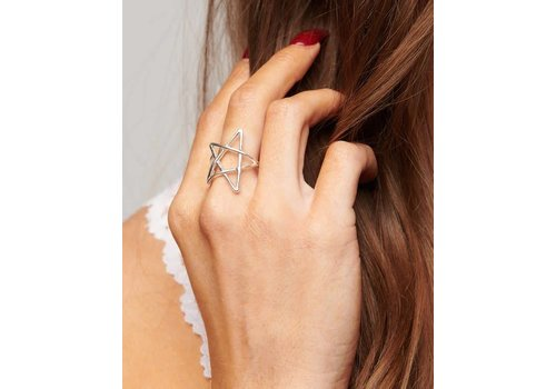 Adjustable Silver Star Ring