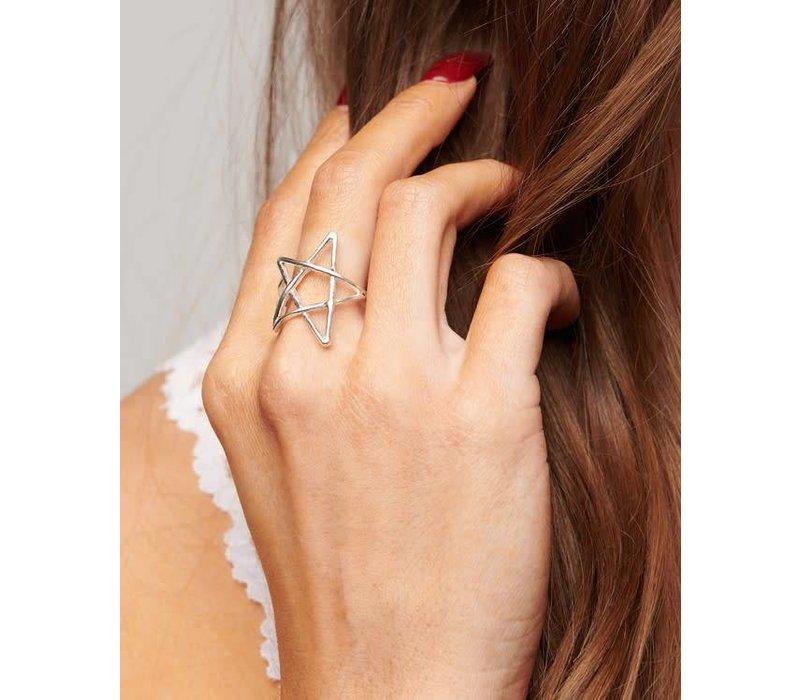 Adjustable Silver Star Ring