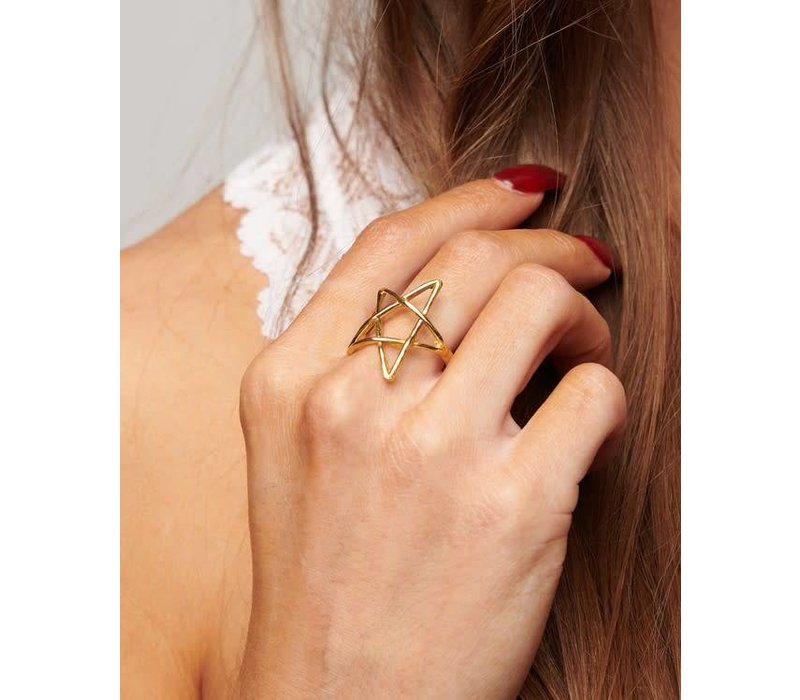 Adjustable Gold Star Ring
