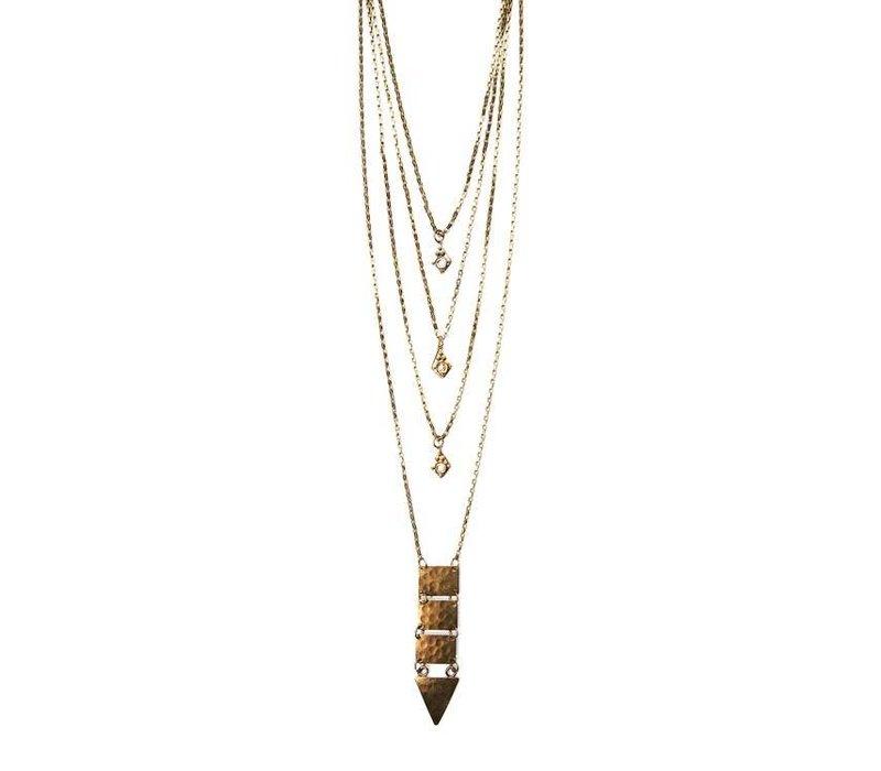 Boho Layered Brass Pendant Necklace