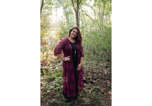 Bohemian Collect Burgundy Lace Duster
