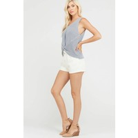 Ice Blue Front Twist Sweater Tank