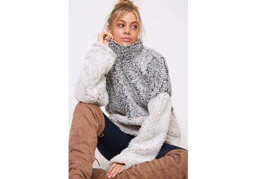 Faux Fur Colorblock Pullover