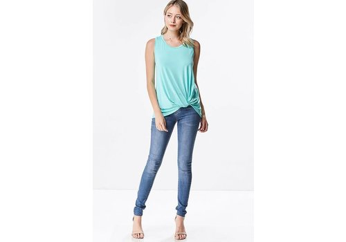 Front Twist Modal Tank in Navy & Mint