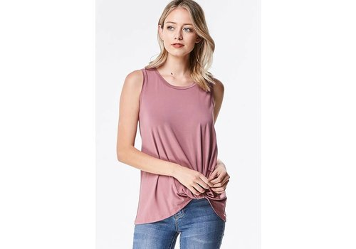 Front Twist Modal Tanks in Mauve & Burgundy