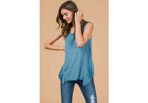 Side Ruffle Modal Tank in Slate Blue