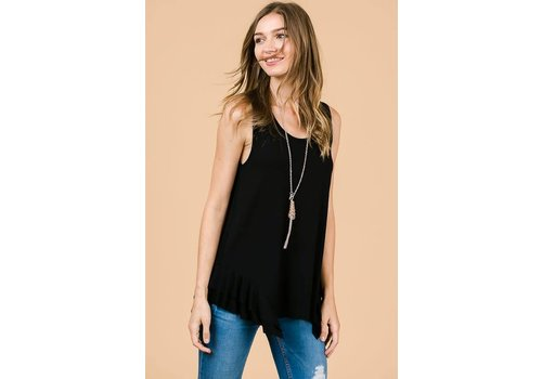 Side Ruffle Modal Tank in Black