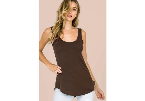 Scoop Hem Modal Tanks in Brown & Blush