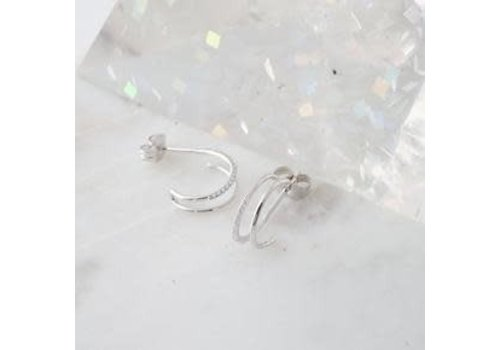 Double Crystal Hoop Earrings- Silver
