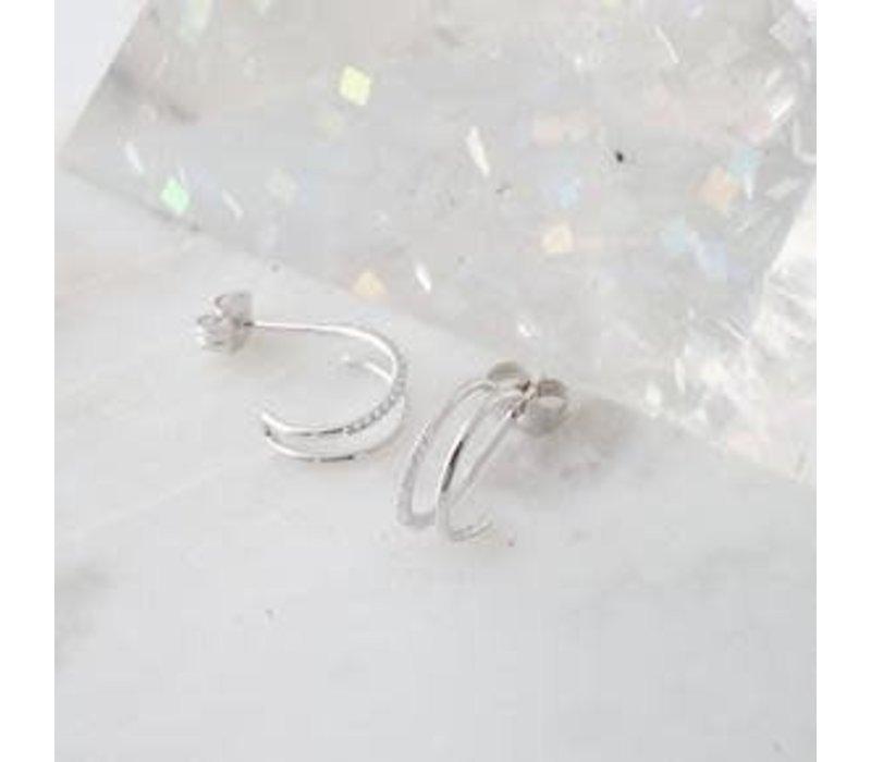 Double Crystal Hoop Earrings- Silver