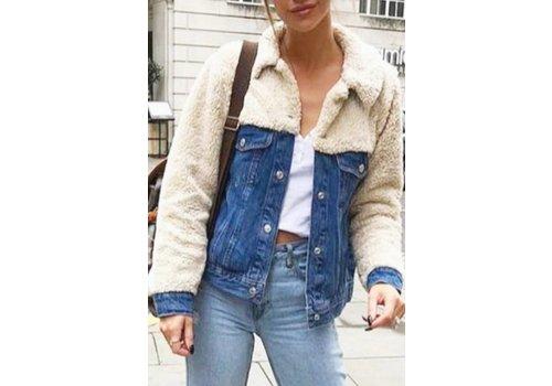 Faux Sheep Skin Denim Jacket
