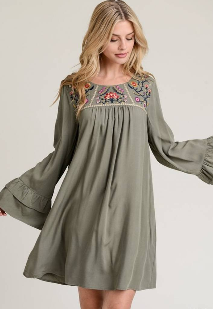 Olive Embroidered Dress Little Gypsie Boutique