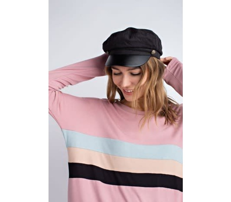 Pink Colorblock Modal Pullover