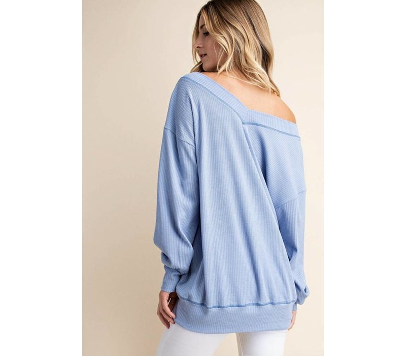 Periwinkle Ribbed Pullover
