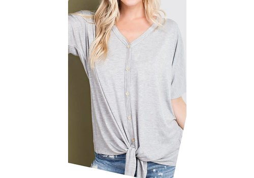 Heather Gray Button Top