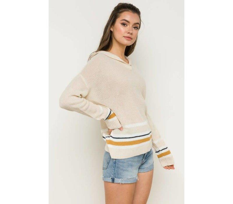 Stripe Trim Hooded Sweater