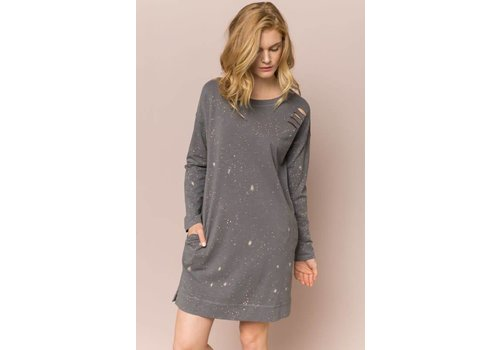 Charcoal Distressed Sweatshirt Dress