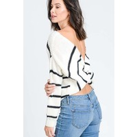 Pinstripe Sweater with Twist Back