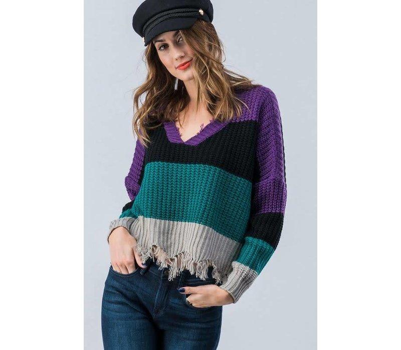 Distressed Bold Colorblock Semi Cropped Sweater