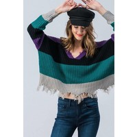 Distressed Bold Colorblock Semi Cropped Sweater
