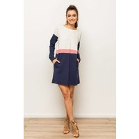 Rose & Navy Colorblock Sweatshirt Dress