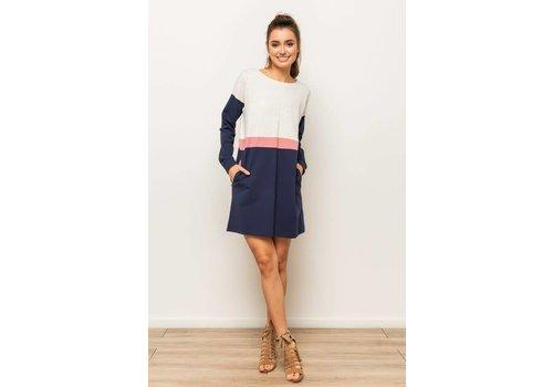 Rose & Navy Colorblock Sweatshirt Dress