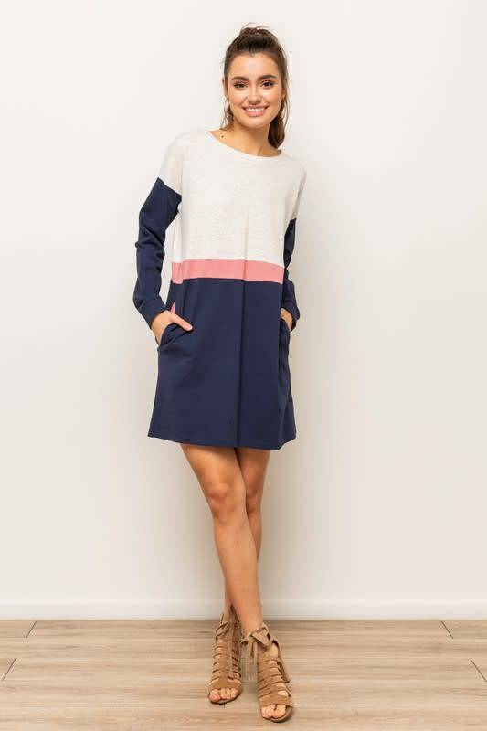 d0a2c64b29ba Rose   Navy Colorblock Sweatshirt Dress - Little Gypsie Boutique