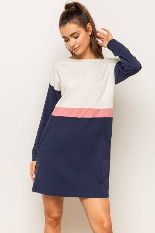 1f95ee0c5e Rose   Navy Colorblock Sweatshirt Dress. Rose   Navy Colorblock Sweatshirt  Dress