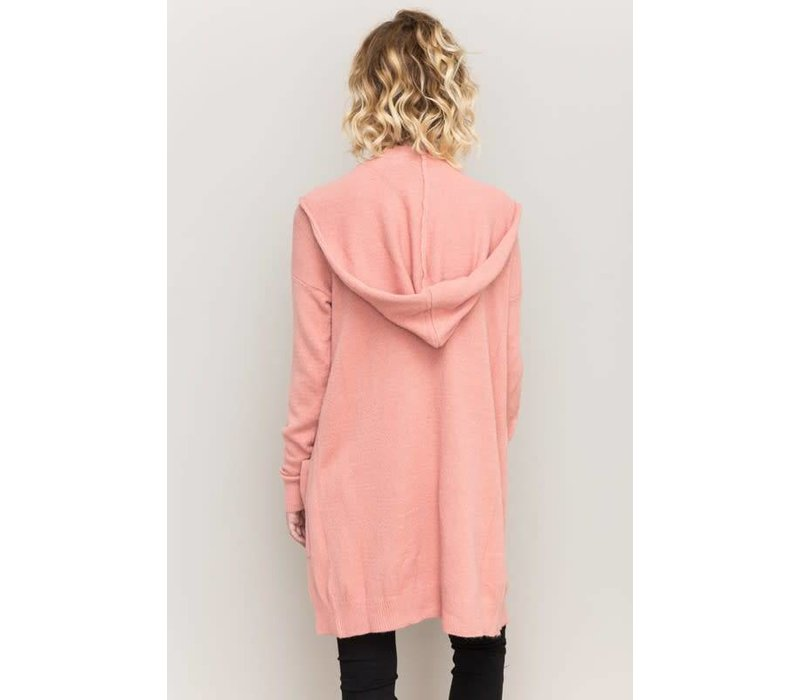 Pink Hooded Sweater Cardigan