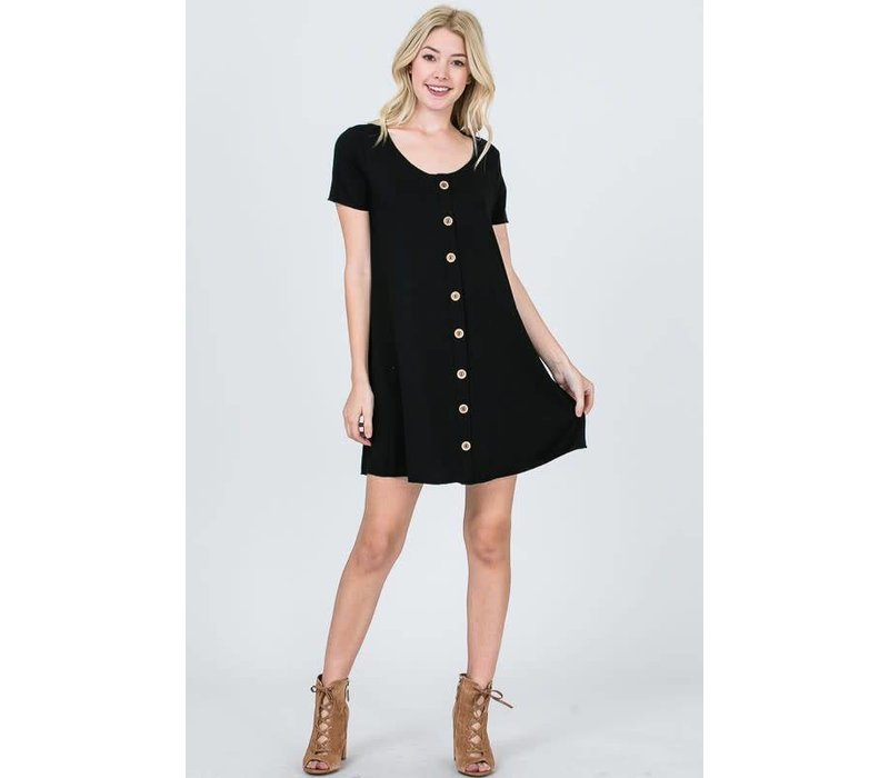 Black Button Front Ribbed Tshirt Dress