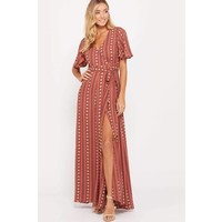 Bohemian Collect Red Clay Wrap Maxi