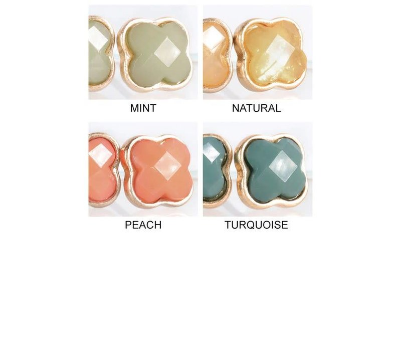 Clover Post Earrings (10 Color Choices)
