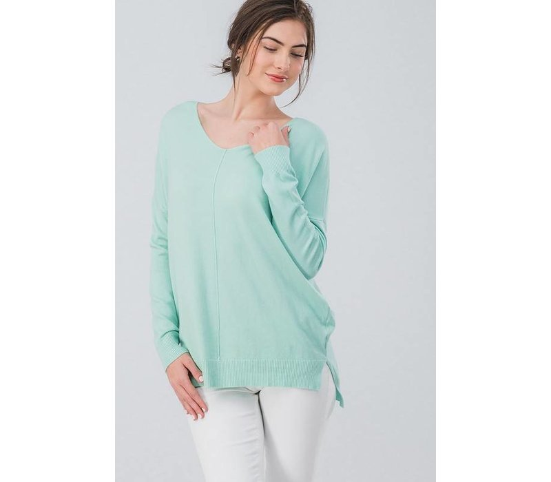 Lux Pullover Sweater (Ivory & Mint)