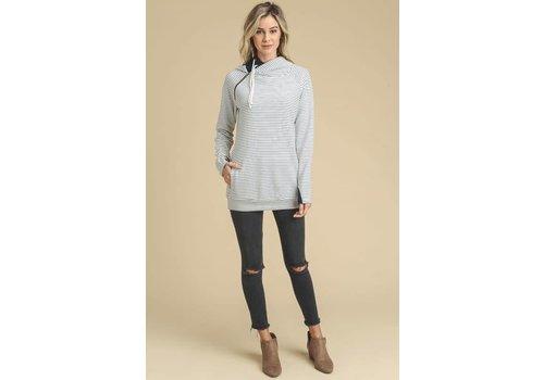 Navy Stripe Double Hooded Sweatshirt
